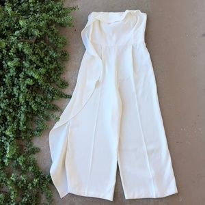 Topshop Ivory Ruffle Strapless Wide Leg Jumpsuit